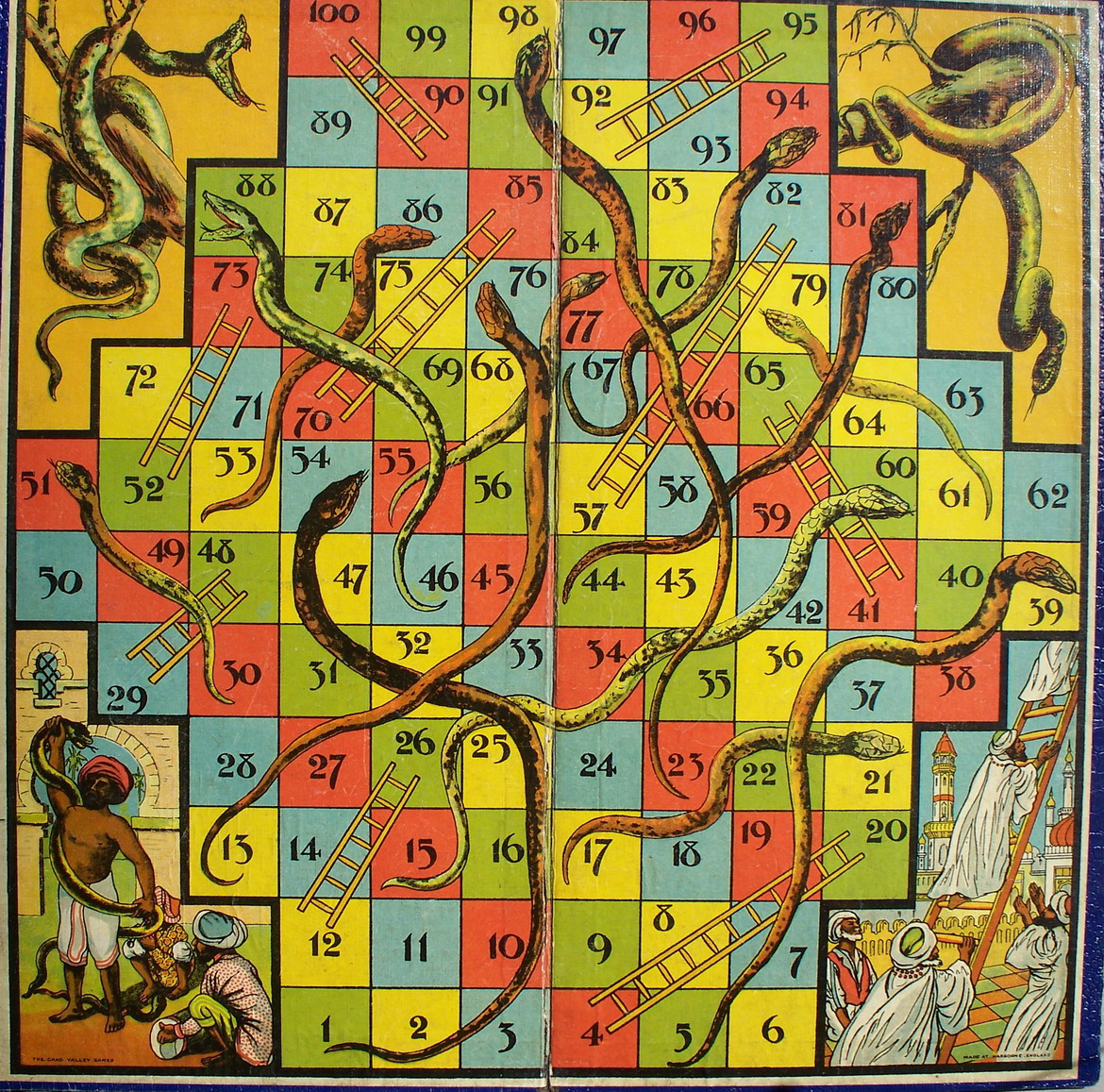 Figure 5: Snakes and Ladders board. 1920/30. Paper pasted on cardboard ...